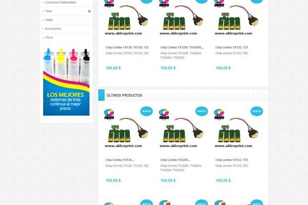 Diseño de tienda virtual de Aldea Print