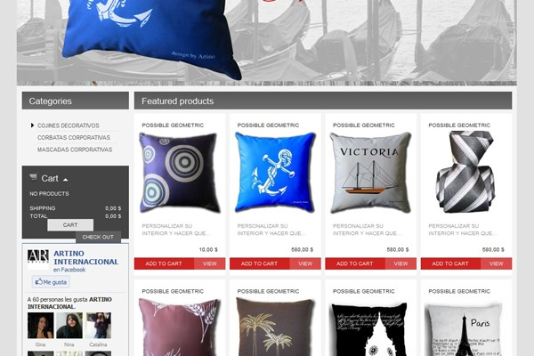Diseño de tienda virtual de Artino