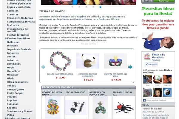 Diseño web y catalogo virtual de Fiesta a lo grande