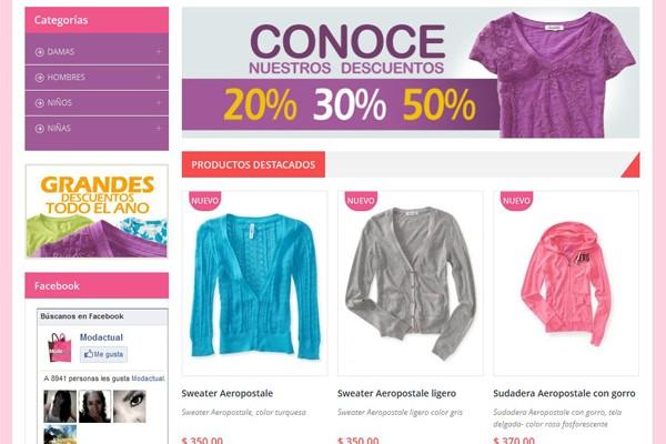 Diseño web y tienda virtual de Moda Actual