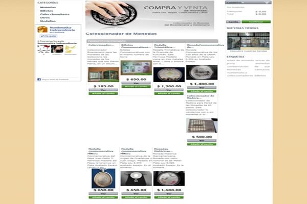 Diseño tienda virtual numismatica independencia