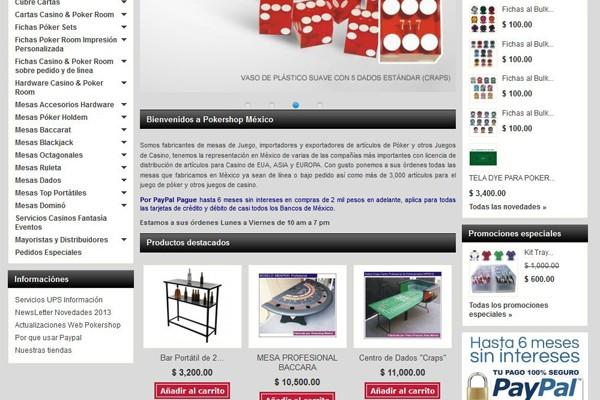 Diseño de página web y tienda virtual de Pokershop