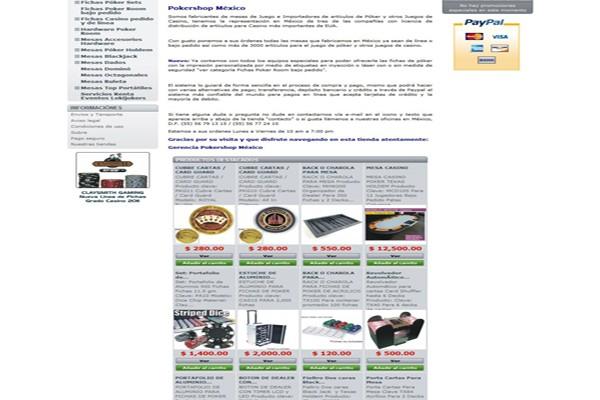 Diseño web y tienda virtual pokershop mexico