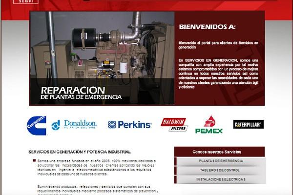 Diseño pagina web servicios generacion