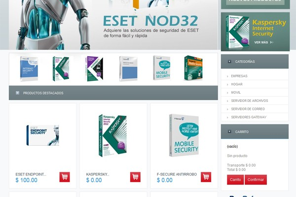 Tienda virtual de Soluciones Antivirus