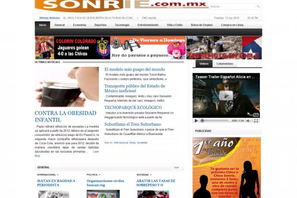 Diseño de página web para el Periodico Sonrie